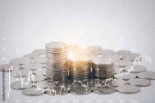 Coins stack and leaf with  line graphic  business connect on white background, S Tapéta, Fotótapéta