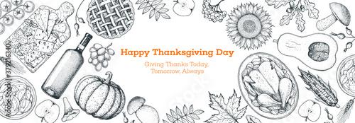 Foto Thanksgiving food banner design