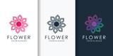 Flower logo with beauty modern gradient style, woman, flower, spa, health, Premium Vector
