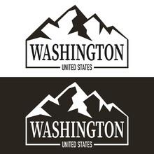 Modern Washington State Badge Logo With Mountains