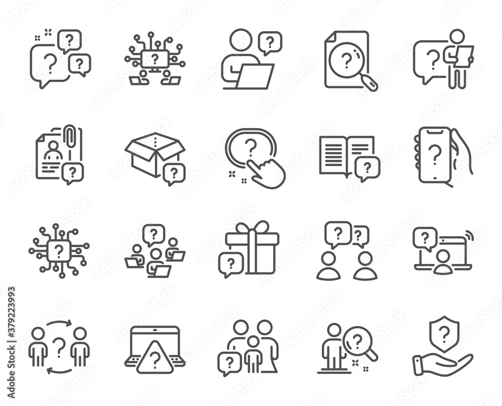 Fototapeta Questions line icons. Artificial intelligence computer, phone with question mark, problem solve. Quiz, faq guide, job interview line icons. Ask person, question bubble, family problem. Vector