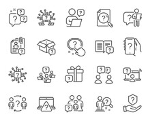 Questions Line Icons. Artificial Intelligence Computer, Phone With Question Mark, Problem Solve. Quiz, Faq Guide, Job Interview Line Icons. Ask Person, Question Bubble, Family Problem. Vector