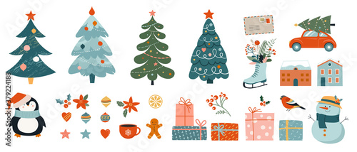 Fototapeta Collection of Christmas decorations, holiday gifts, winter knitted woolen clothes, ginger bread, trees, gifts and penguin. Colorful vector illustration in flat cartoon style. obraz