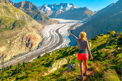 Aletsch Glacier from Moosfluh viewpoint in summer, Valais Canton, Switzerland, Europe Fototapeta