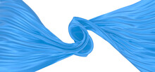 Beautiful Flowing Fabric Of Blue Wavy Silk Or Satin. 3d Rendering Image.