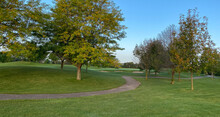 Early Morning On Golf Course Late Summer Early Autumn Green Cart Path