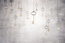 Gold Keys On Rope On Blurry Co...