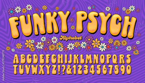 фотография Funky Psych is a late 1960s or early 1970s fun and humorous psychedelic letterin