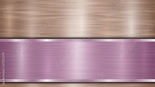 Fototapeta Background consisting of a bronze shiny metallic surface and one horizontal polished purple plate located below, with a metal texture, glares and burnished edges obraz