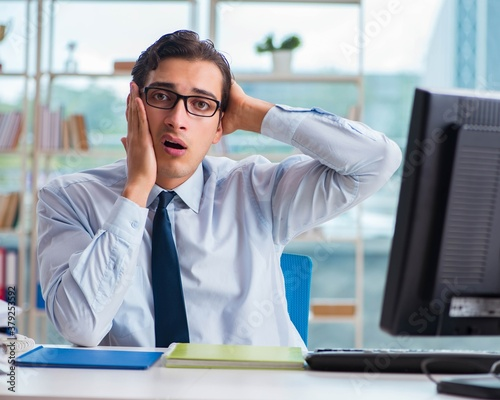 Cuadros en Lienzo Businessman suffering from excessive armpit sweating
