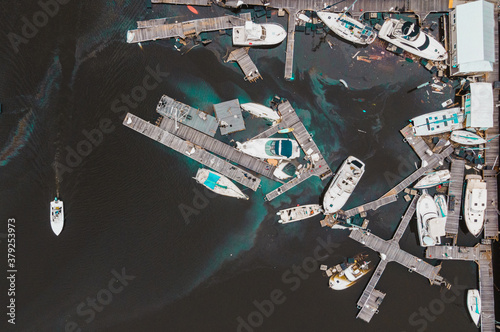 Shipwreck of sailing vessels in the beach in pensacola marina in florida after h Canvas Print