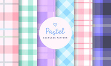 Pastel Tartan Check Plaid Seamless Pattern Collection. Set Of 6 Colorful Background. Kawaii Patterns Vector For Gift Wrap, Wallpaper, Wrapping Paper And Fabric Patterns.