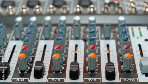 Fotomural Close up of sound mixing console.