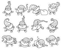 Line Art Set Of Christmas Gnomes Or Dwarves Sketch Vector Illustration Isolated.