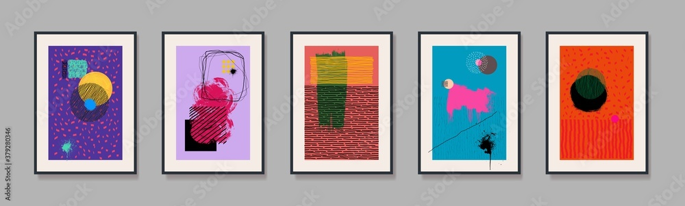 Fototapeta Set of minimal geometric design posters. Template with primitive shapes elements, modern hipster style. Freehand drawing. Vector illustration. Isolated on grey background.