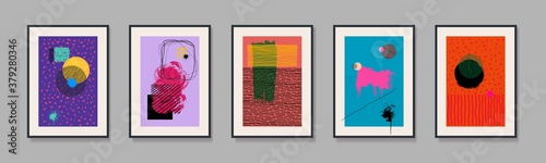 Fototapeta Set of minimal geometric design posters. Template with primitive shapes elements, modern hipster style. Freehand drawing. Vector illustration. Isolated on grey background. obraz