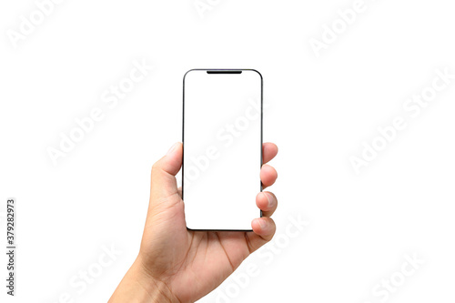 Fototapeta male hand holding phone isolated on white, mock-up smartphone blank screen with clipping path obraz