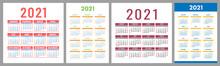 Calendar 2021 Year Set. Vector...