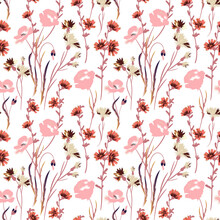 Wild Flowers Illustrations. Vector Seamless Pattern