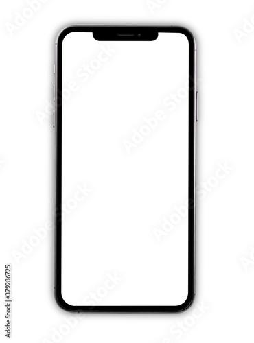 Cuadros en Lienzo Closeup modern digital black Smartphone mobile mock up blank front screen isolat