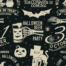 Set Of Halloween Celebration Seamless Pattern With Retro Grunge Effect. Vector. Halloween Party Retro Badges. Background, Wallpaper, Seamless Pattern With Patches
