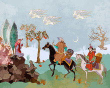Horsemen And Oasis. Fairy Tales And Legends Of The Middle East. Medieval Miniature. Mughal Art. Persian Frescoes. Travel Of Heroes. Ancient Civilization Murals. Ottoman Empire