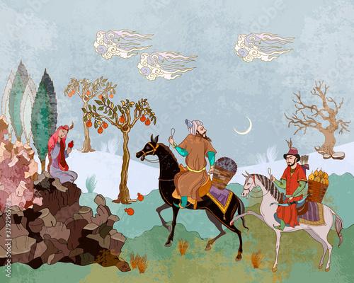 Obraz na plátně Horsemen and oasis