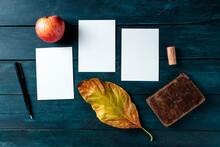 Autumn Stationery Mockup, Thre...