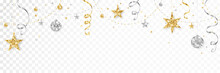 Holiday Decoration, Christmas Glitter Border. Festive Vector Background Isolated On White. Gold And Silver Ornaments, Garland With Stars. For Christmas And New Year Banners, Headers.