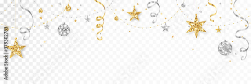 Obraz Holiday decoration, Christmas glitter border. Festive vector background isolated on white. Gold and silver ornaments, garland with stars. For Christmas and New Year banners, headers. - fototapety do salonu