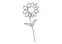One Single Line Drawing Of Beauty Sunflower Isolated On White Background. Beautiful Flower Concept Hand Draw Design Vector Illustration For Posters, Wall Art, Tote Bag, Mobile Case, T-shirt Print
