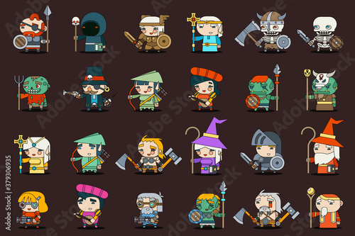 Fantasy rpg game heroes villains minions character vector outline icons set flat Canvas Print