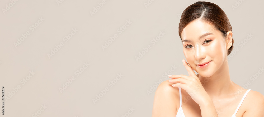 Fototapeta Beauty asian women portrait face with skin care healthy and skin.