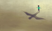 Imagination Artwork Of Boy With Shadow Bird Wing, Painting Art, Conceptual Illustration,  Freedom  Ambition And Hope Concept,  Surreal Child Dream