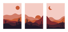 Set Of Abstract Landscape Post...