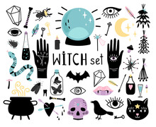 Witch Magic Elements. Hand Dra...