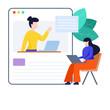 A flat design of online teaching illustration