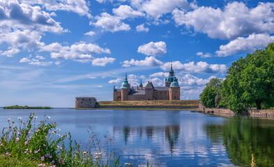 Historical castle in Kalmar by beautiful day, Sweden