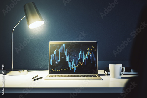 Fototapeta Modern computer screen with abstract financial diagram, banking and accounting concept. 3D Rendering obraz