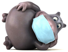 Fun 3D Cartoon Hippo With A Mask