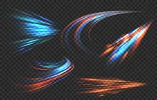 Light Motion Trails. High Speed Effect Motion Blur Night Lights In Blue And Red Colors, Abstract Flash Perspective Road Glow Streaks Long Time Exposure Vector Set On Transparent Background