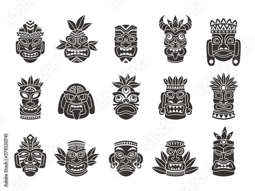 Obraz Idol mask. Black silhouette ritual totem tribal god tiki ancient indian or african culture, traditional mayan or aztec wooden symbol, polynesian tattoo pattern face masks vector set - fototapety do salonu