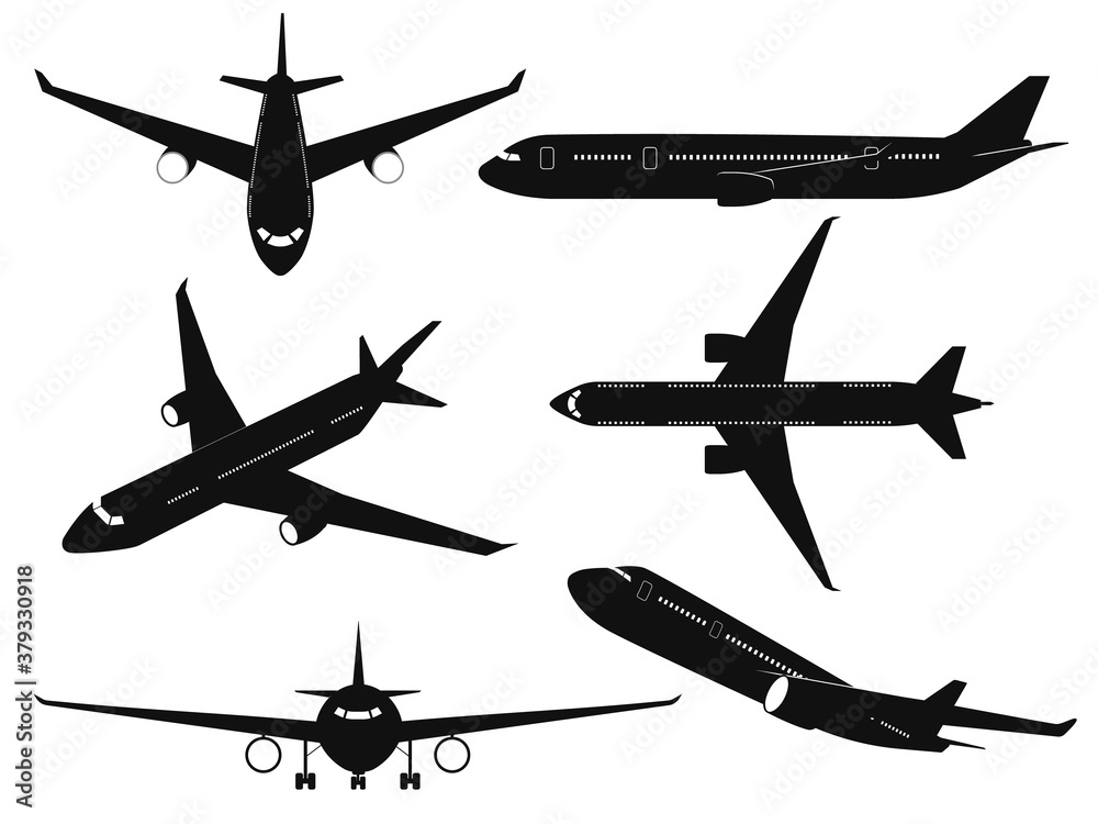 Fototapeta Airplane silhouettes. Passenger aircraft in different angles, flying plane top, side and front view. International transportation travel commercial aviation black planes vector set