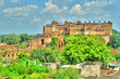 Orchha Fort Jahangir Mahal, ancient ruins in India wiev from distance