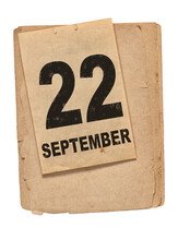Calendar Book Page 22 September Old Paper Isolated