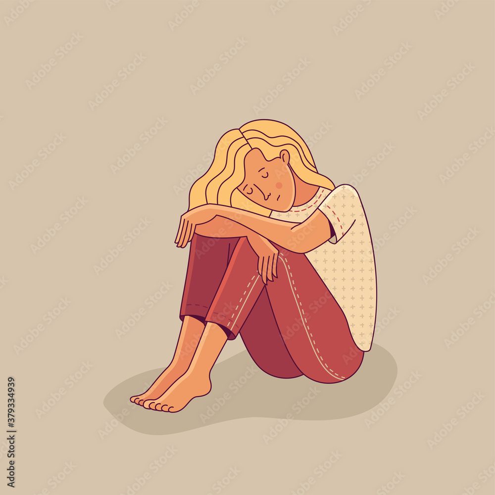 Fototapeta Sad young woman sitting alone as illustration of mental disorder, psychotherapy concept, loneliness, and depression. Flat cartoon vector character.