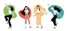Set Of Joyful Young Women Enjoying Life Vector Illustration. Happy Girls Dancing And Listening To Music. Flat Duotone Female Characters. Cartoon Good Mood And Positive Thinking Concept