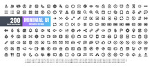 24x24 Pixel Perfect. Basic User Interface Essential Set. 200 Line Outline Icons. For App, Web, Print. Editable Stroke. 2 Pixel Stroke Wide With Round Cap And Round Corner.