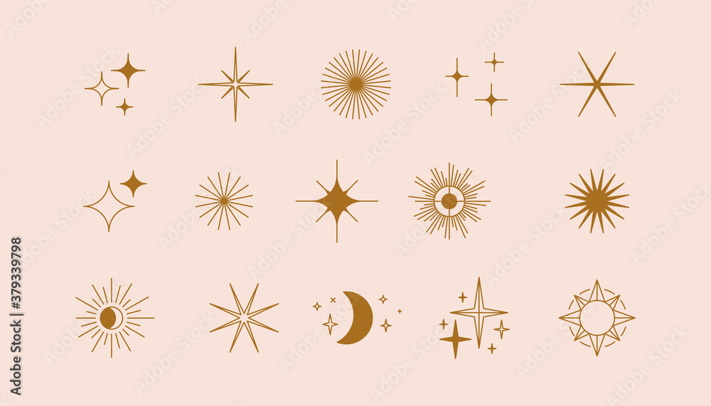 Fototapeta Vector set of linear icons and symbols - stars, moon, sun - abstract design elements for decoration or logo design templates in modern minimalist style
