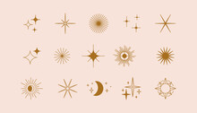 Vector Set Of Linear Icons And Symbols - Stars, Moon, Sun - Abstract Design Elements For Decoration Or Logo Design Templates In Modern Minimalist Style